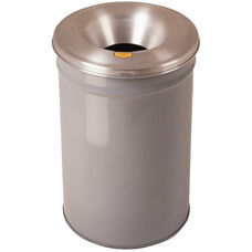 Cease-Fire® Safety Drum 12 Gallon Waste Receptacle with Aluminum Head - Gray