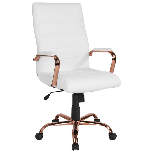 Our High Back White Leather Executive Swivel Office Chair with Rose Gold Frame and Arms is on sale now.