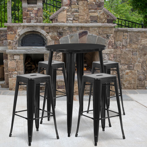 "Commercial Grade 30"" Round Metal Indoor-Outdoor Bar Table Set with 4 Square Seat Backless Stools"
