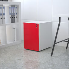 Modern 3-Drawer Mobile Locking Filing Cabinet with Anti-Tilt Mechanism and Hanging Drawer for Legal & Letter Files, White with Red Faceplate