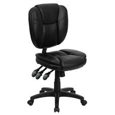 Mid-Back Black Leather Multifunction Swivel Ergonomic Task Office Chair with Pillow Top Cushioning