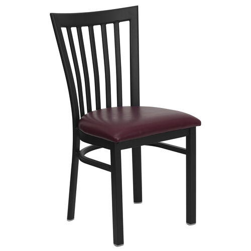 Our Black School House Back Metal Restaurant Chair with Burgundy Vinyl Seat is on sale now.