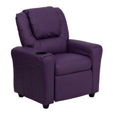 Contemporary Purple Vinyl Kids Recliner with Cup Holder and Headrest