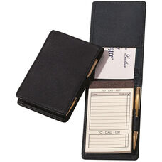 Deluxe Flip Style Note Jotter - Top Grain Nappa Leather - Black