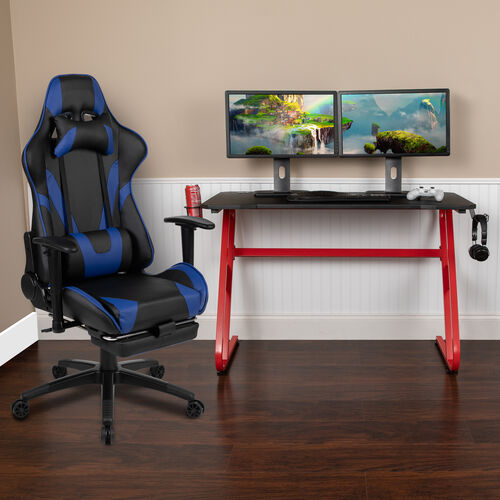 BlackArc Red Gaming Desk with Cup Holder/Headphone Hook & Blue Reclining Gaming Chair with Footrest