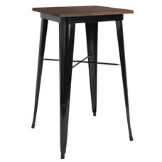 "23.5"" Square Black Metal Indoor Bar Height Table with Walnut Rustic Wood Top"