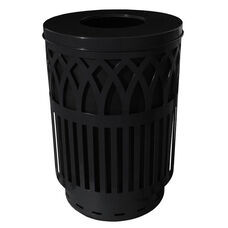 40 Gallon Covington Galvannealed Steel Flat-Top Can with Plastic Liner - Black
