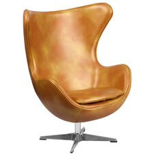 Gold Leather Egg Chair with Tilt-Lock Mechanism