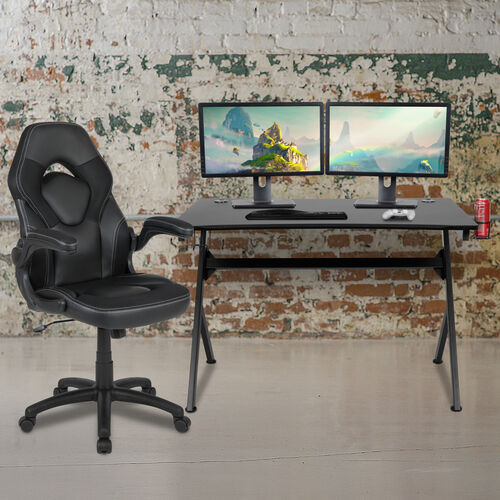 Gaming Desk and Racing Chair Set with Cup Holder, Headphone Hook & 2 Wire Management Holes