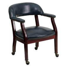 Navy Vinyl Luxurious Conference Chair with Accent Nail Trim and Casters