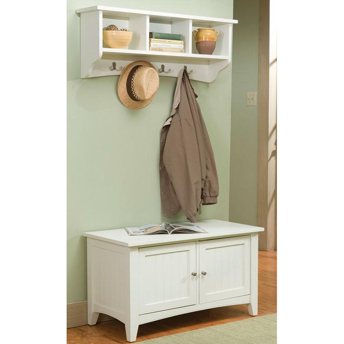 Our Shaker Cottage 2 Piece Hall Tree Set With Cubbies And Storage Bench Ivory Is