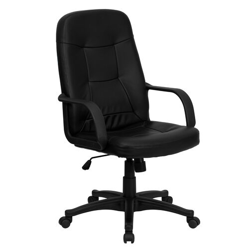 Our High Back Black Glove Vinyl Executive Swivel Chair with Arms is on sale now.