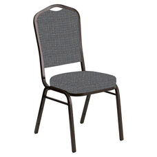 Crown Back Banquet Chair in Interweave Earth Fabric - Gold Vein Frame
