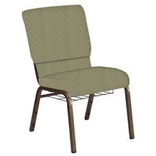 Embroidered 18.5''W Church Chair in Arches Moss Fabric with Book Rack - Gold Vein Frame