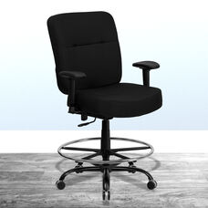 HERCULES Series Big & Tall 400 lb. Rated Black Fabric Rectangular Back Ergonomic Draft Chair with Adjustable Arms