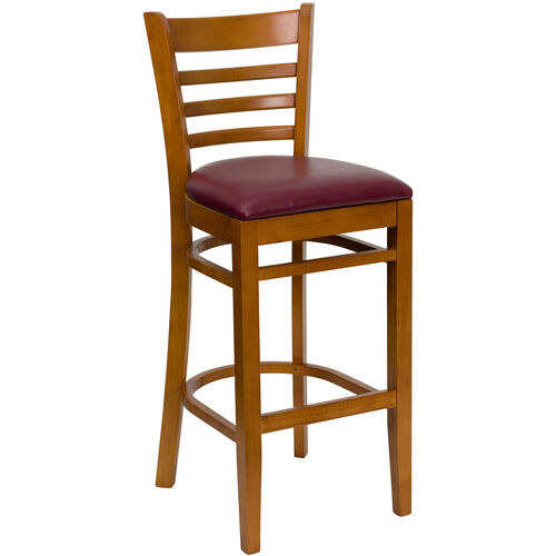 Our Cherry Finished Ladder Back Wooden Restaurant Barstool with Burgundy Vinyl Seat is on sale now.