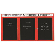 3 Door Outdoor Enclosed Directory Board with Header and Red Anodized Aluminum Frame - 36