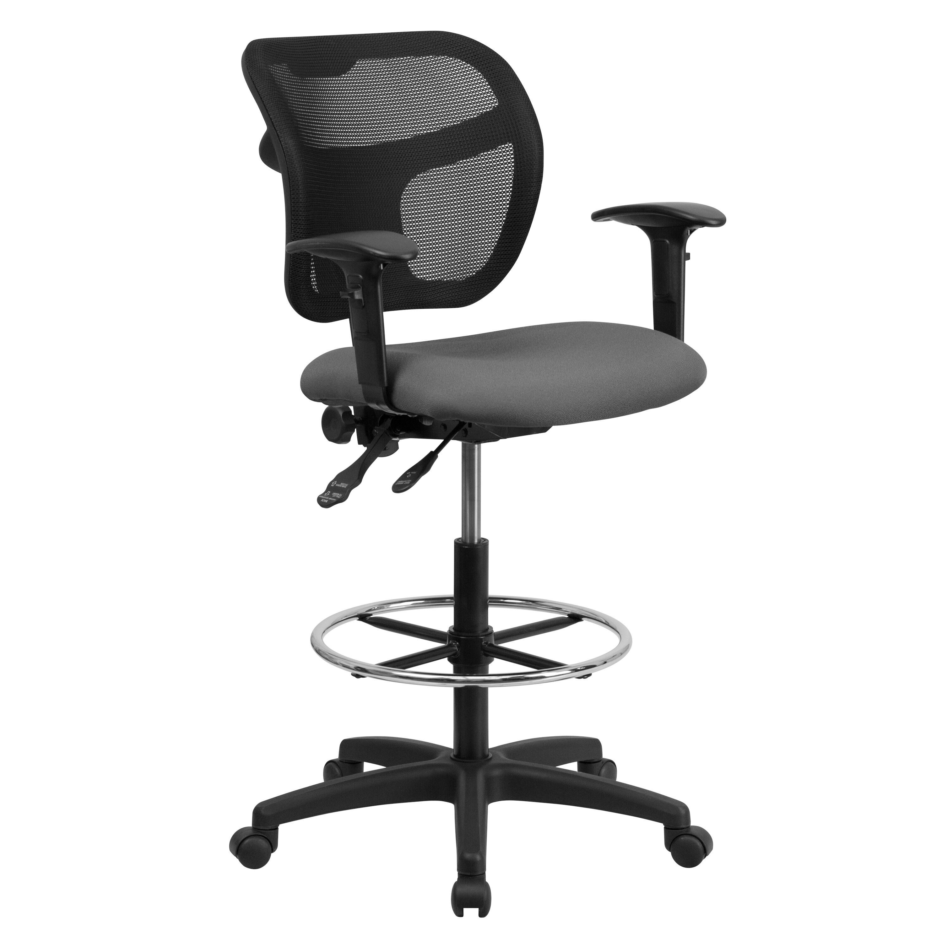 midback gray mesh drafting chair with adjustable arms - Drafting Chairs