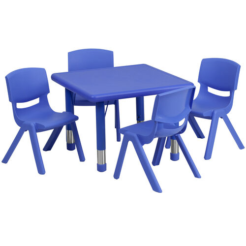 """Our 24"""" Square Plastic Height Adjustable Activity Table Set with 4 Chairs is on sale now."""