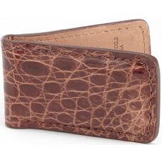 Luxury Magnetic Money Clip Wallet - Genuine Crocodile Skin Leather - Brown
