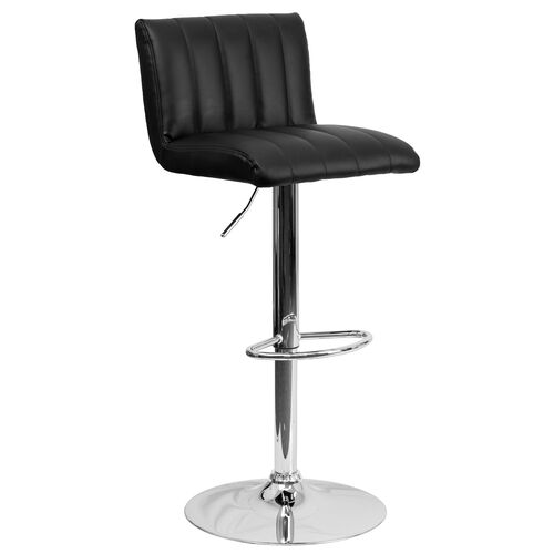 Contemporary Vinyl Adjustable Height Barstool with Vertical Stitch Back/Seat and Chrome Base