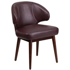 Comfort Back Series Burgundy Leather Side Reception Chair with Walnut Legs