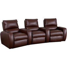 Welbourne Three Seater Home Theater - Wedge Arm in Top Grain Leather