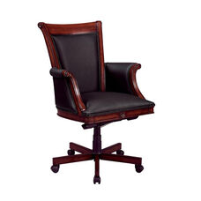 Rue De Lyon Executive High Back Chair with Wood and Upholstered Arms in Black Leather - Ruby Cabernet
