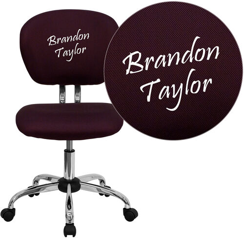 Our Embroidered Mid-Back Burgundy Mesh Padded Swivel Task Office Chair with Chrome Base is on sale now.