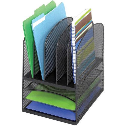 Onyx™ Three Horizontal and Five Upright Mesh Desk Organizer - Black