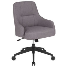 Dinan Home and Office Upholstered Mid-Back Chair in Light Gray Fabric
