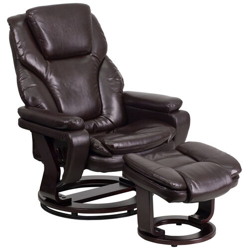 Our Contemporary Multi-Position Recliner and Ottoman with Swivel Mahogany Wood Base in Brown LeatherSoft is on sale now.