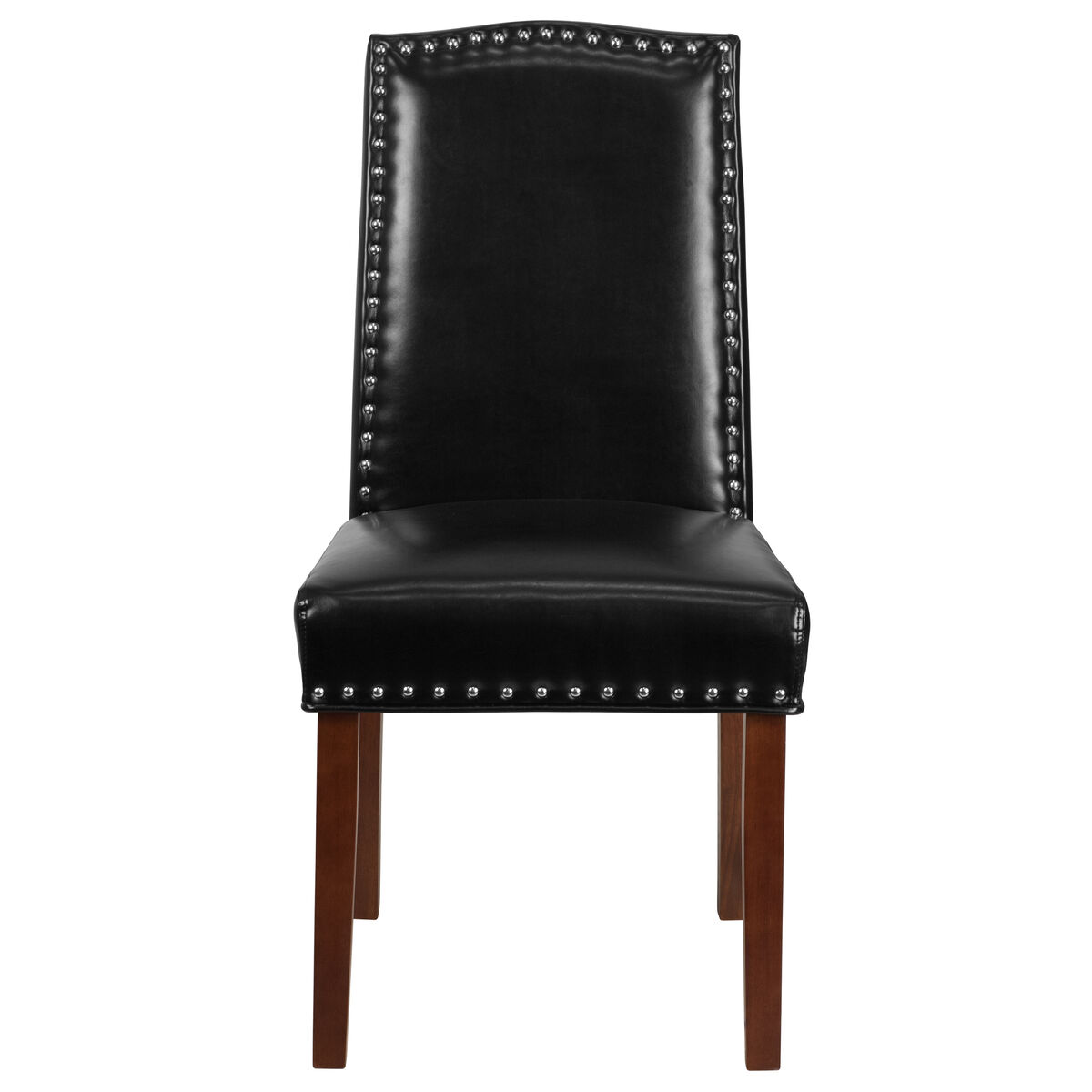 Black Leather Parsons Chair Qy A13 9349 Bk Gg Bizchair Com