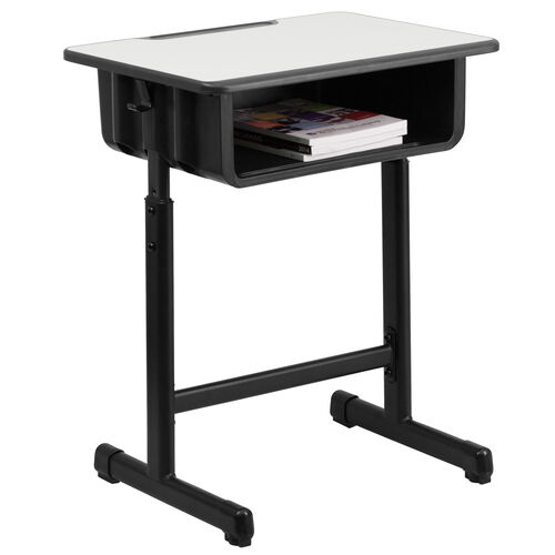 Our Student Desk with Grey Top and Adjustable Height Black Pedestal Frame is on sale now.