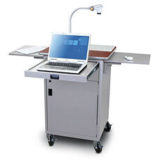 Vizion Teaching Presentation Cart with Locking Cabinet and Steel Doors - Silver Powdercoat Paint and Cherry Laminate
