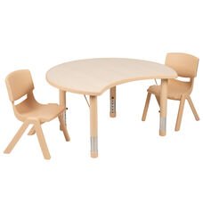 "25.125""W x 35.5""L Crescent Natural Plastic Height Adjustable Activity Table Set with 2 Chairs"