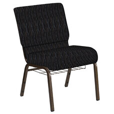 Embroidered 21''W Church Chair in Mystery Ebony Fabric with Book Rack - Gold Vein Frame