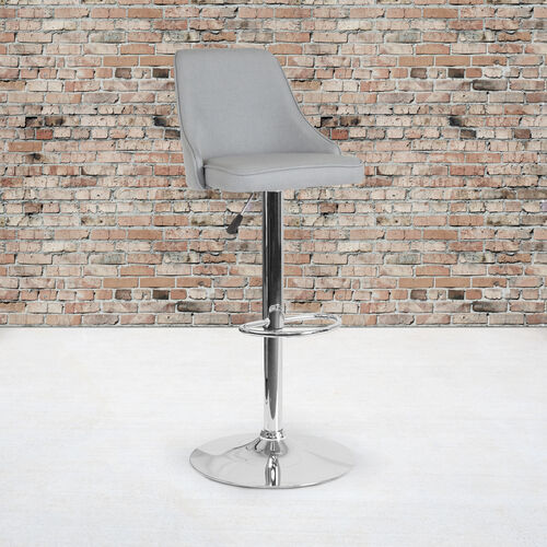 Trieste Contemporary Adjustable Height Barstool in Light Gray Fabric