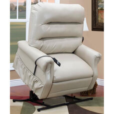 Three Way Reclining 600 Lb. Capacity Bariatric Power Lift Chair with Matching Arm and Headrest Covers - Apollo Ivory Vinyl