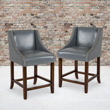 """Carmel Series 24"""" High Transitional Walnut Counter Height Stool with Nail Trim in Light Gray LeatherSoft, Set of 2"""