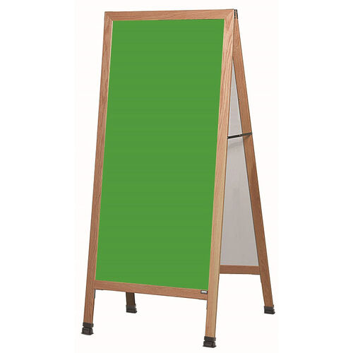 Our Extra Large A-Frame Sidewalk Board with Green Porcelain Chalkboard and Clear Lacquer Finished Solid Red Oak Frame - 30