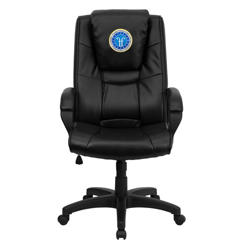 Our Dreamweaver Personalized Black Leather Executive Swivel Office Chair with Arms is on sale now.