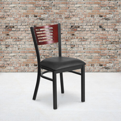 Our Black Decorative Slat Back Metal Restaurant Chair with Mahogany Wood Back & Black Vinyl Seat is on sale now.