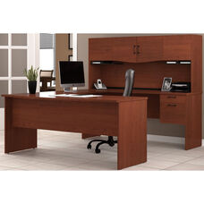 Harmony U-Shaped Computer Workstation with Locking Drawers and Keyboard Shelf - Bordeaux and Charcoal