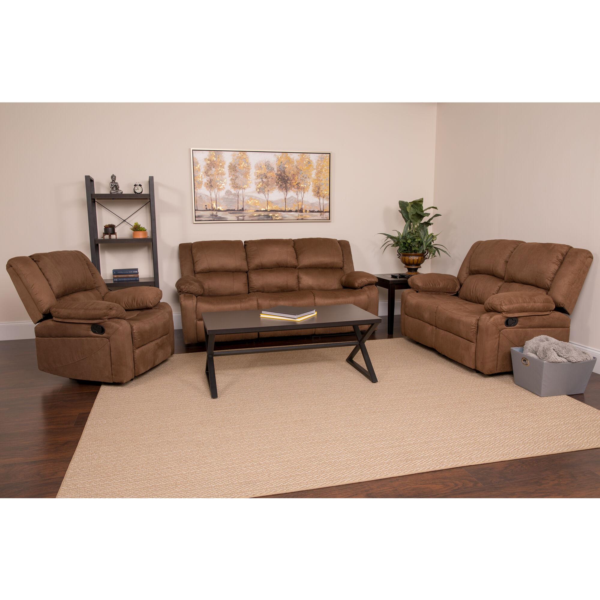 Admirable Harmony Series Chocolate Brown Microfiber Reclining Sofa Set Ncnpc Chair Design For Home Ncnpcorg