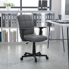 Mid-Back Gray Quilted Vinyl Swivel Task Office Chair with Arms