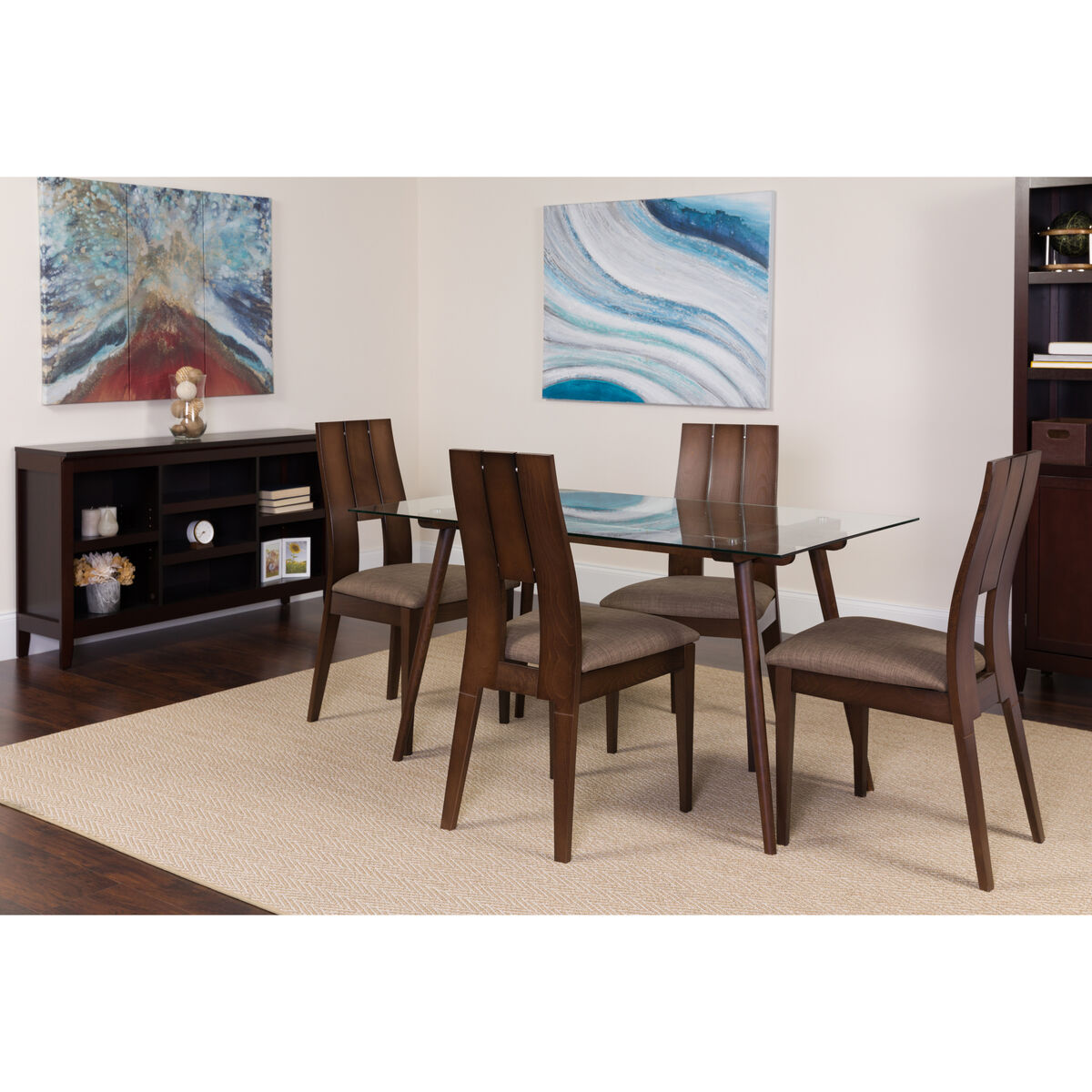 Our carson 5 piece espresso wood dining table set with glass top and curved slat keyhole