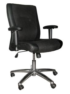 Mercado Adjustable Height Leather and Mesh Arm Chair with Chrome Base - Black