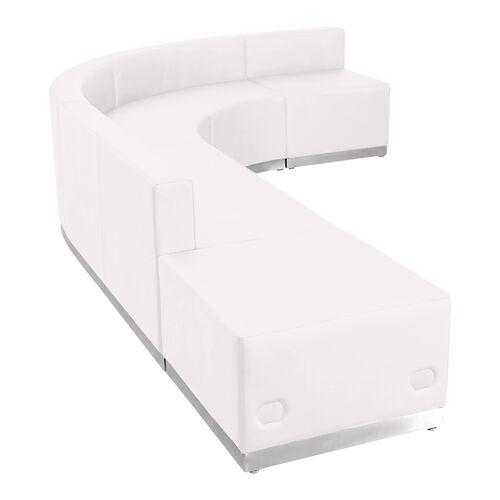 HERCULES Alon Series Melrose White LeatherSoft Reception Configuration, 5 Pieces