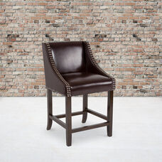 """Carmel Series 24"""" High Transitional Walnut Counter Height Stool with Accent Nail Trim in Brown LeatherSoft"""